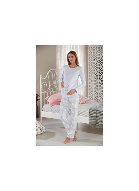 Sevim Baskılı Hamile Pijama Takımı Mavi